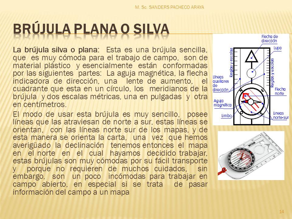 La brújula silva o plana: Esta es una brújula sencilla, que es muy cómoda para el trabajo de campo, son de material plástico y esencialmente están conformadas por las siguientes partes: La aguja magnética, la flecha indicadora de dirección, una lente de aumento, el cuadrante que esta en un círculo, los meridianos de la brújula y dos escalas métricas, una en pulgadas y otra en centímetros.