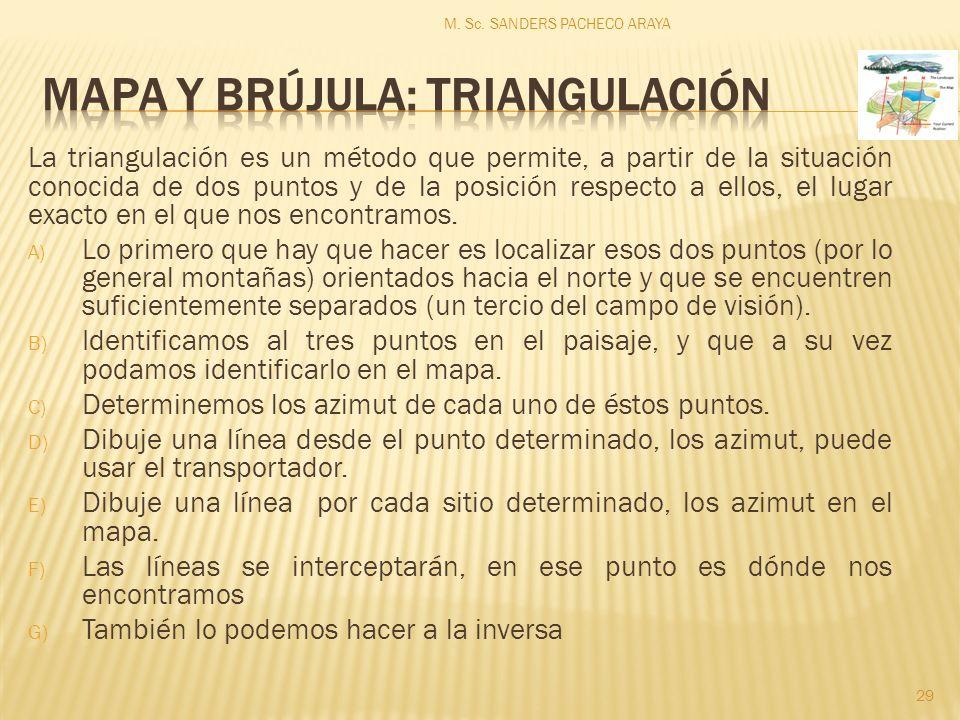 La triangulación es un método que permite, a partir de la situación conocida de dos puntos y de la posición respecto a ellos, el lugar exacto en el que nos encontramos.
