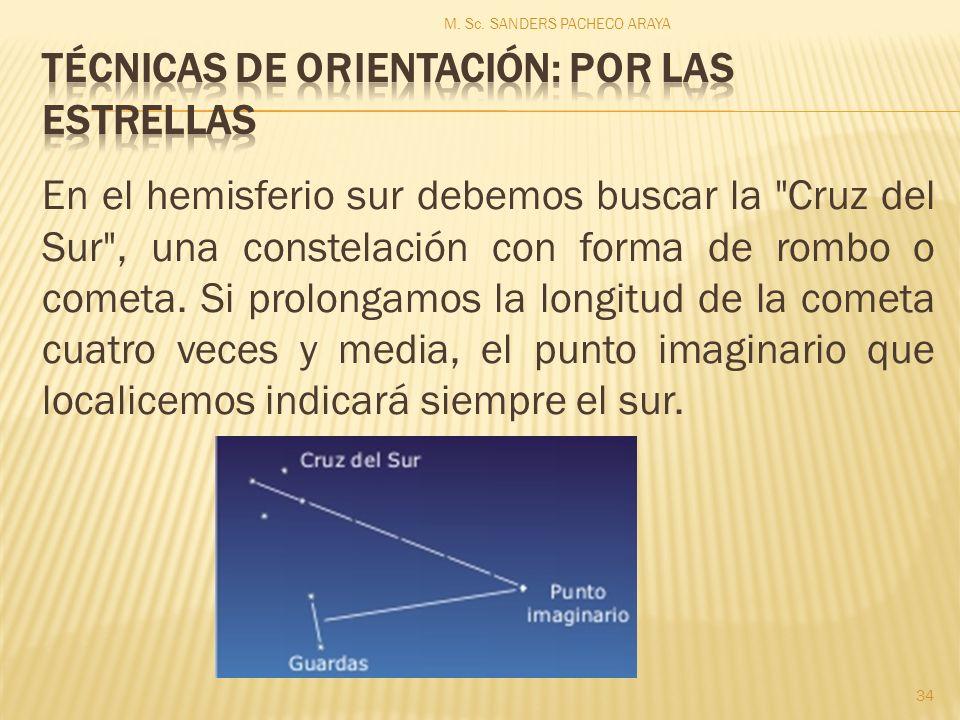 En el hemisferio sur debemos buscar la Cruz del Sur , una constelación con forma de rombo o cometa.