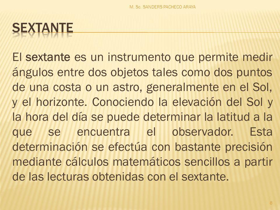 El sextante es un instrumento que permite medir ángulos entre dos objetos tales como dos puntos de una costa o un astro, generalmente en el Sol, y el