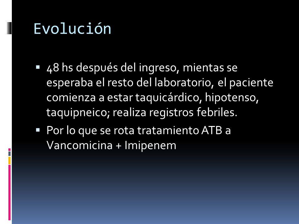 Evolución 48 hs después del ingreso, mientas se esperaba el resto del laboratorio, el paciente comienza a estar taquicárdico, hipotenso, taquipneico;