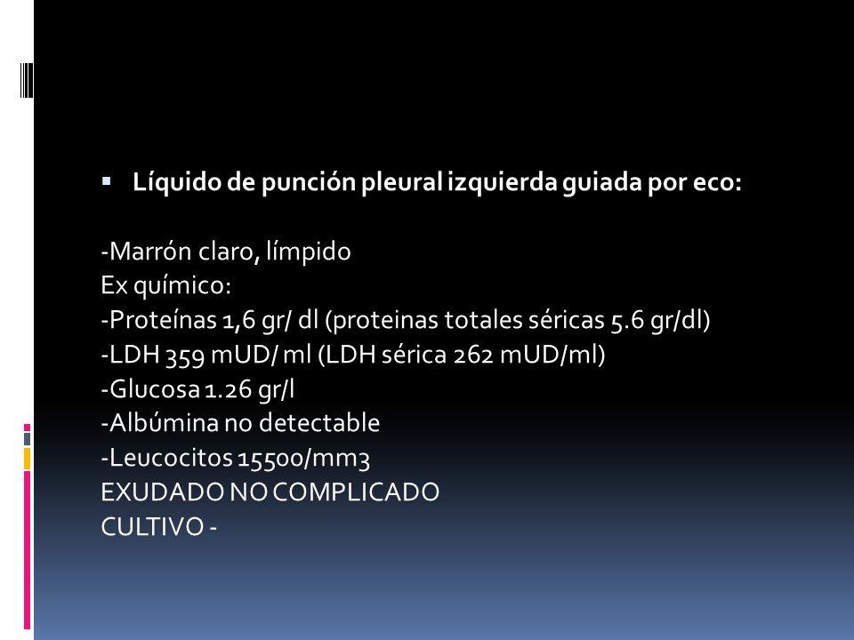 Líquido de punción pleural izquierda guiada por eco: -Marrón claro, límpido Ex químico: -Proteínas 1,6 gr/ dl (proteinas totales séricas 5.6 gr/dl) -L