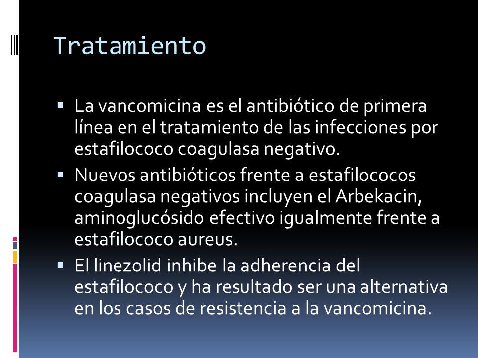 Tratamiento La vancomicina es el antibiótico de primera línea en el tratamiento de las infecciones por estafilococo coagulasa negativo. Nuevos antibió