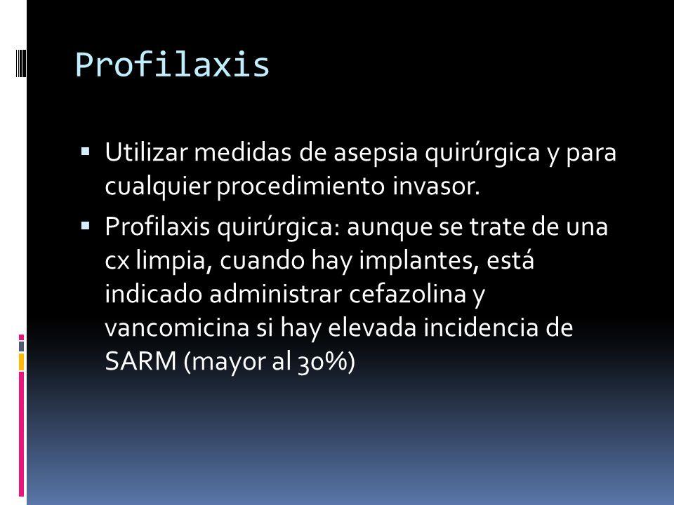 Profilaxis Utilizar medidas de asepsia quirúrgica y para cualquier procedimiento invasor. Profilaxis quirúrgica: aunque se trate de una cx limpia, cua