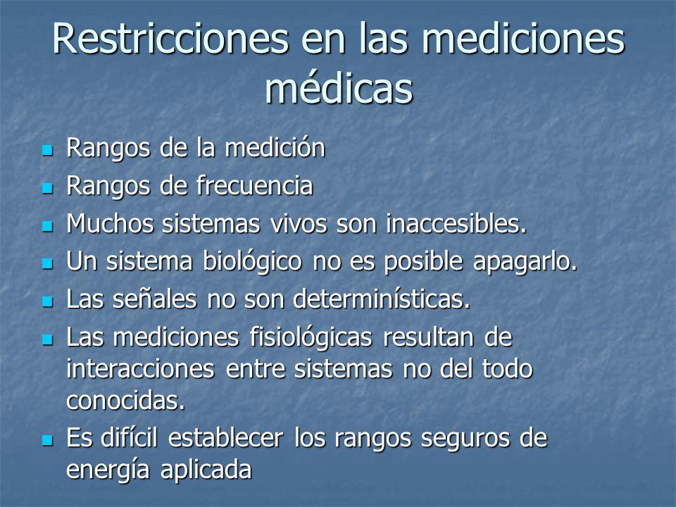 Restricciones en las mediciones médicas Rangos de la medición Rangos de la medición Rangos de frecuencia Rangos de frecuencia Muchos sistemas vivos so