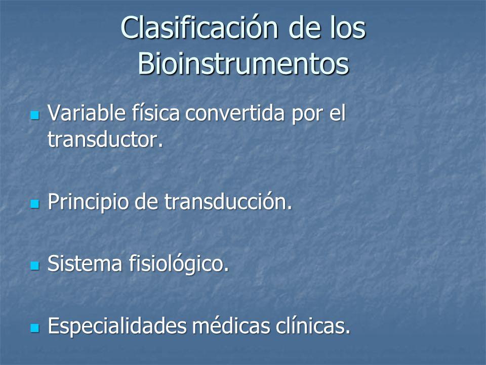 Clasificación de los Bioinstrumentos Variable física convertida por el transductor. Variable física convertida por el transductor. Principio de transd