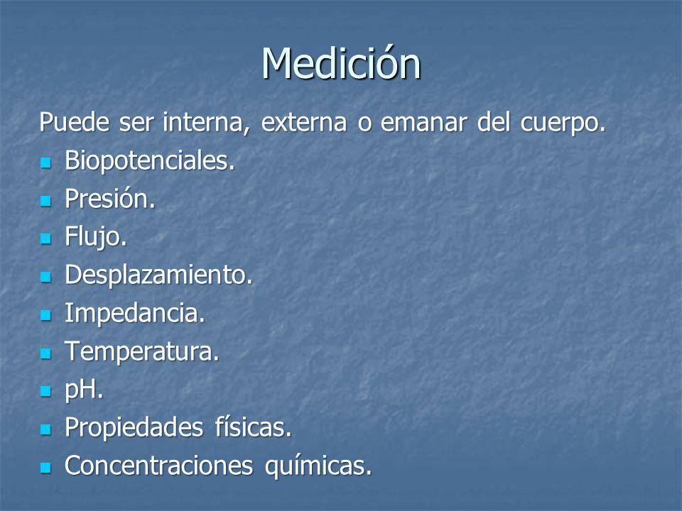 Medición Puede ser interna, externa o emanar del cuerpo. Biopotenciales. Biopotenciales. Presión. Presión. Flujo. Flujo. Desplazamiento. Desplazamient