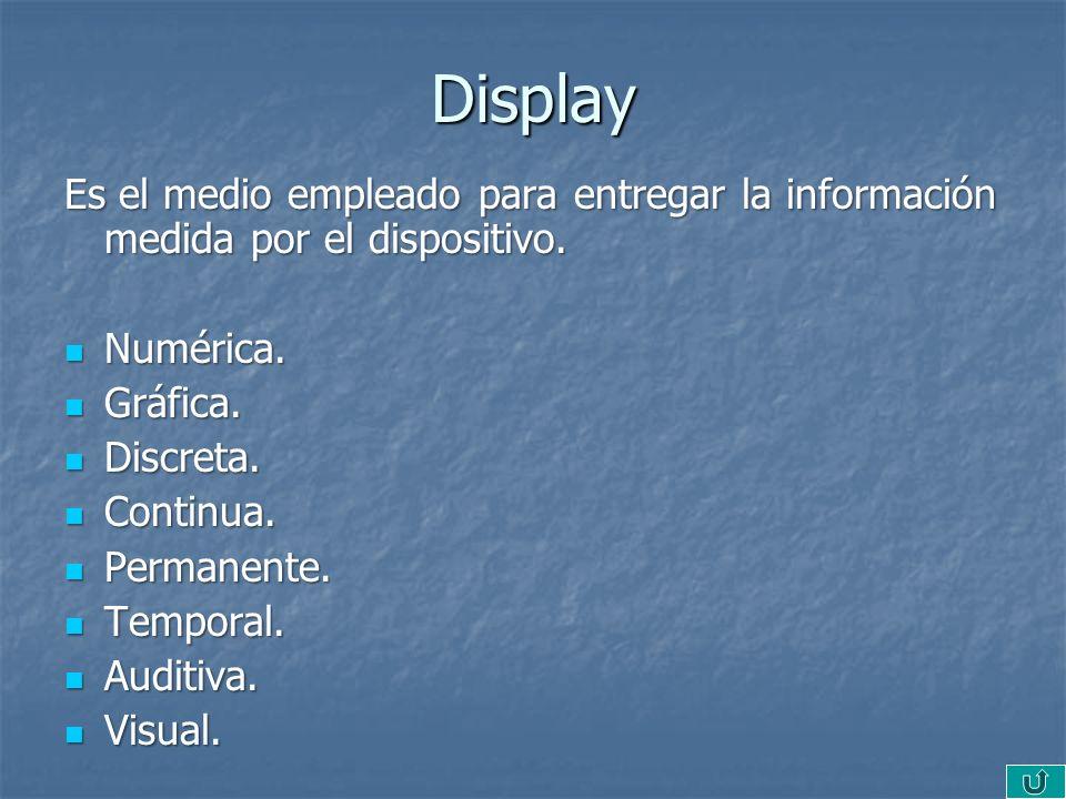 Display Es el medio empleado para entregar la información medida por el dispositivo. Numérica. Numérica. Gráfica. Gráfica. Discreta. Discreta. Continu