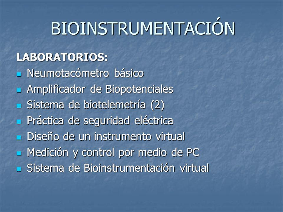 BIOINSTRUMENTACIÓN LABORATORIOS: Neumotacómetro básico Neumotacómetro básico Amplificador de Biopotenciales Amplificador de Biopotenciales Sistema de