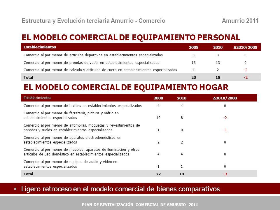 10 EL MODELO COMERCIAL DE EQUIPAMIENTO PERSONAL Establecimientos200820102010/2008 Comercio al por menor de artículos deportivos en establecimientos es