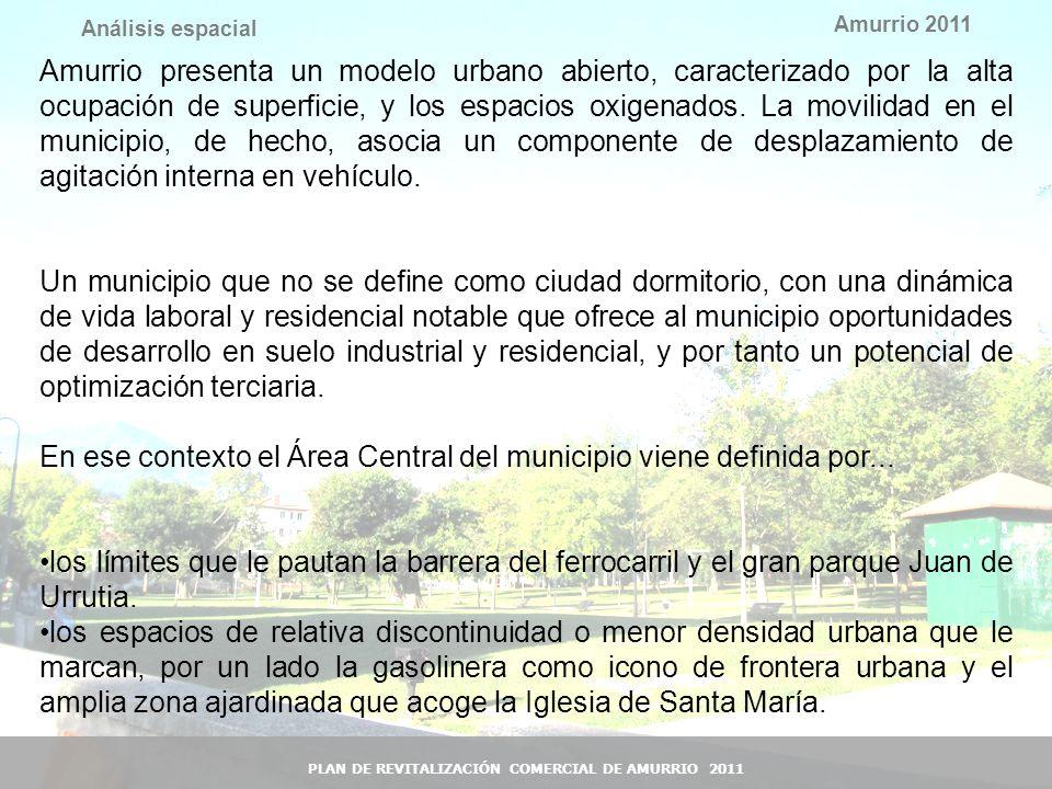 13 Amurrio 2011 PLAN DE REVITALIZACIÓN COMERCIAL DE AMURRIO 2011 Análisis espacial Amurrio presenta un modelo urbano abierto, caracterizado por la alt