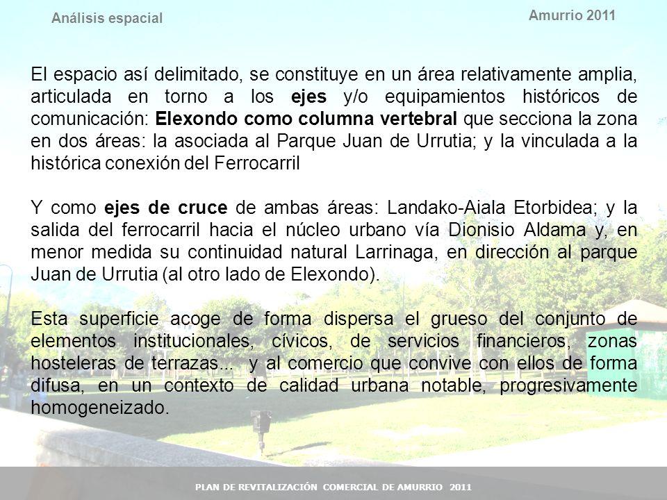 14 Amurrio 2011 PLAN DE REVITALIZACIÓN COMERCIAL DE AMURRIO 2011 Análisis espacial El espacio así delimitado, se constituye en un área relativamente a