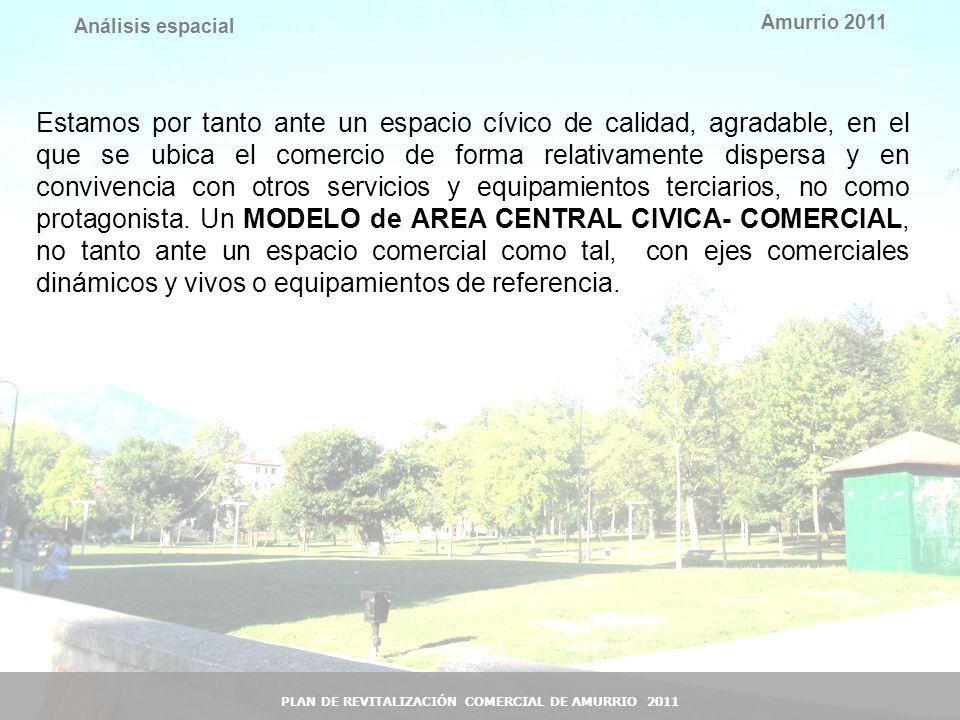 15 Amurrio 2011 PLAN DE REVITALIZACIÓN COMERCIAL DE AMURRIO 2011 Análisis espacial Estamos por tanto ante un espacio cívico de calidad, agradable, en