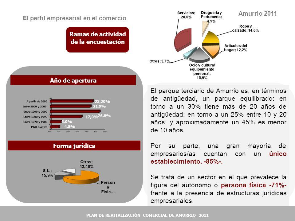 18 El perfil empresarial en el comercio Ramas de actividad de la encuestación Amurrio 2011 El parque terciario de Amurrio es, en términos de antigüeda