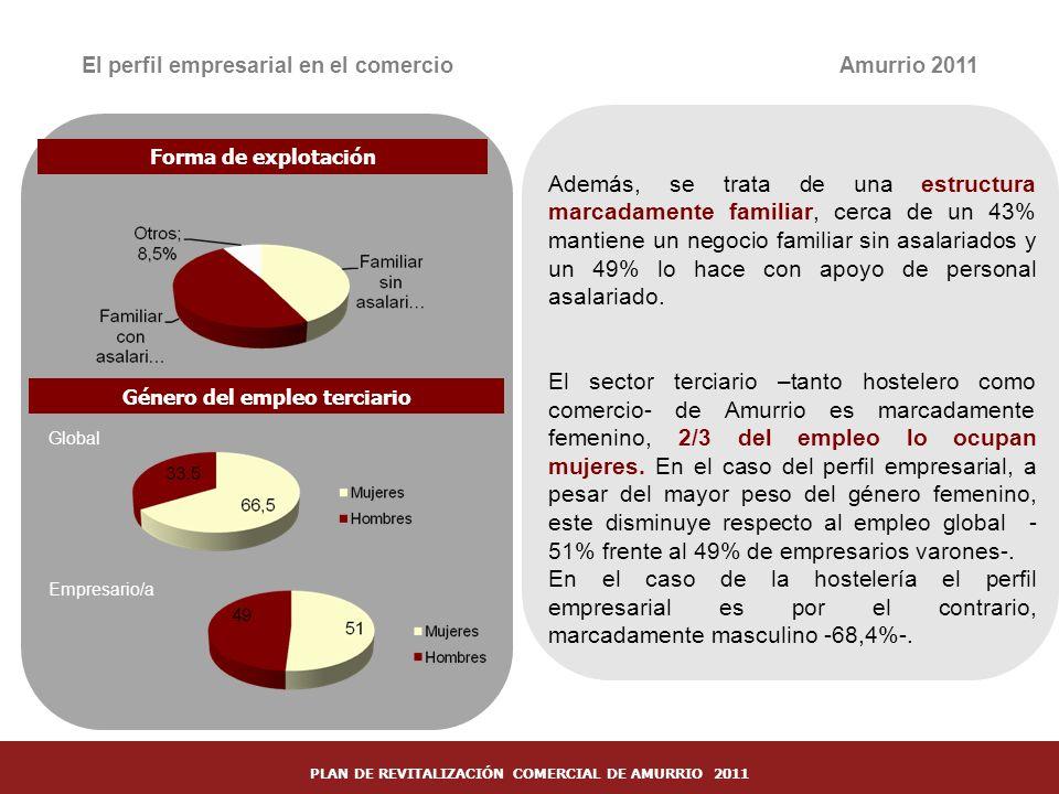 19 El perfil empresarial en el comercio Forma de explotación Género del empleo terciario Amurrio 2011 Además, se trata de una estructura marcadamente