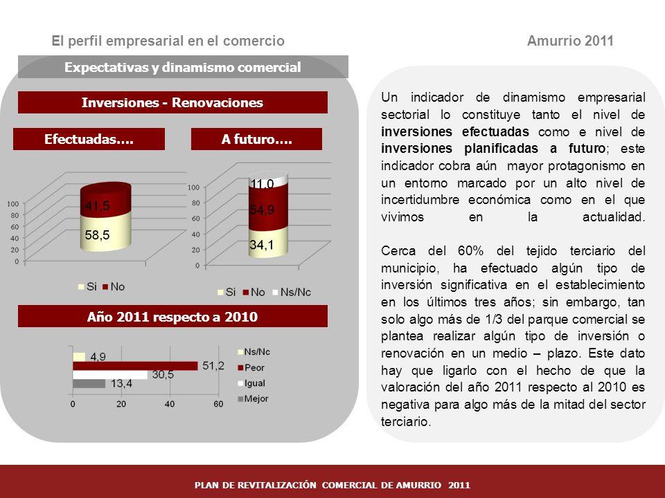 29 Inversiones - Renovaciones El perfil empresarial en el comercio Un indicador de dinamismo empresarial sectorial lo constituye tanto el nivel de inv
