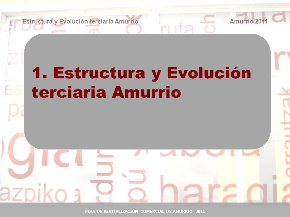 4 4 Estructura y Evolución terciaria Amurrio Nº de establecimientos según sector -2010- Sector de actividadAmurrioArabaCAE Industria 11,0%9,3%7,5% Construcción 15,7%16,2%15,5% Sector terciario 73,3%74,5%76,9% Especialización industrial comparativa de Amurrio: en torno al 73% de los empleos generados en Amurrio corresponden al sector industrial (base de fortaleza económica del municipio).