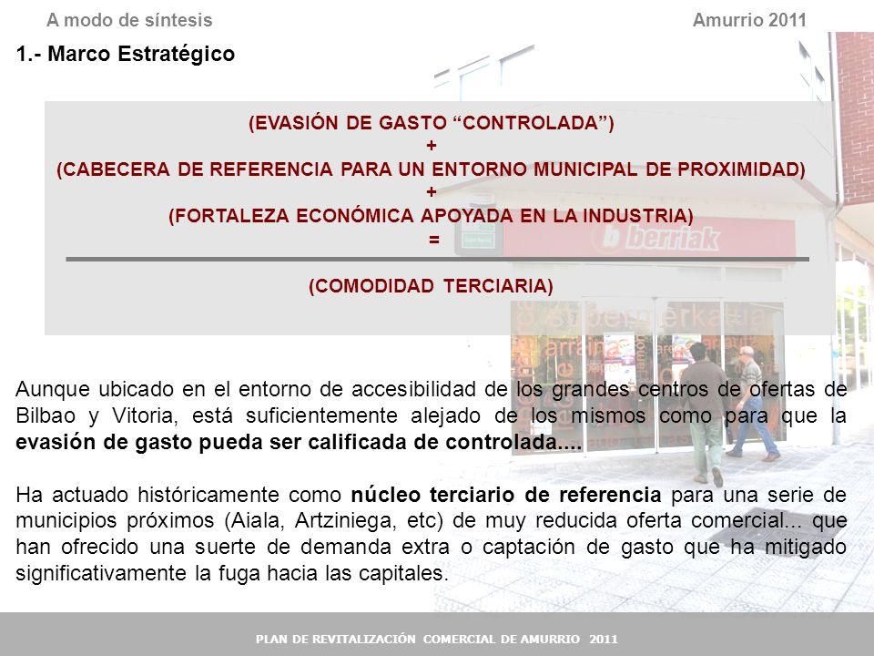 38 Amurrio 2011A modo de síntesis PLAN DE REVITALIZACIÓN COMERCIAL DE AMURRIO 2011 1.- Marco Estratégico (EVASIÓN DE GASTO CONTROLADA) + (CABECERA DE
