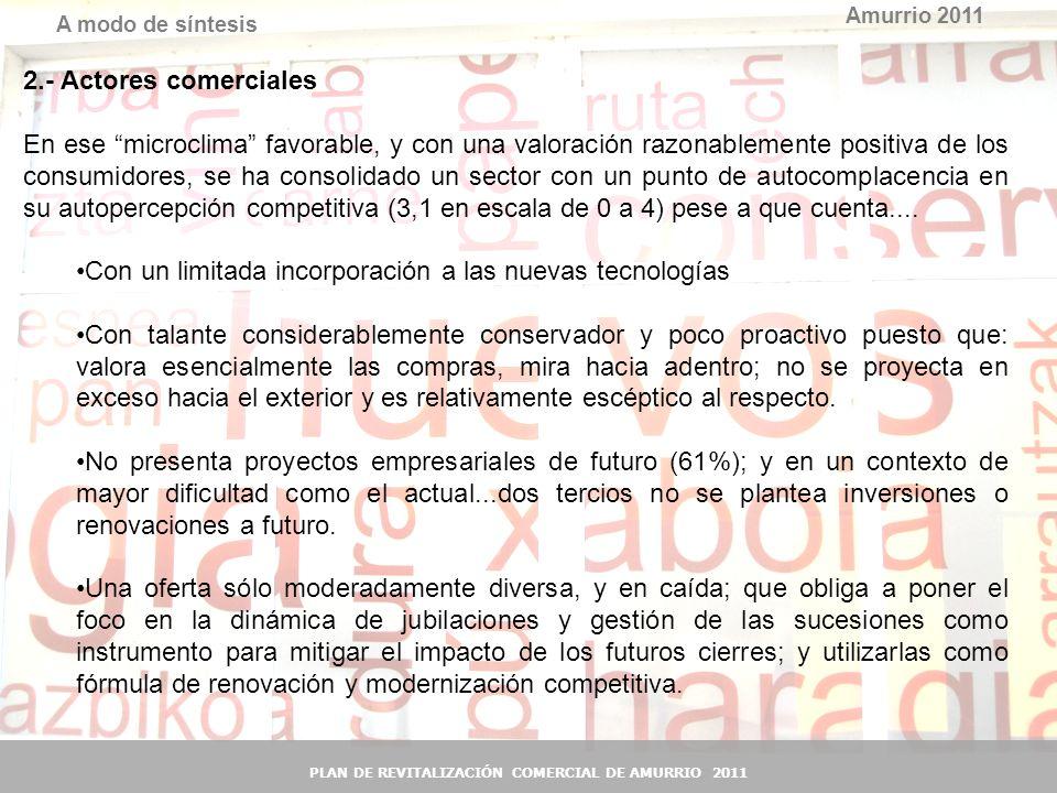40 Amurrio 2011 A modo de síntesis PLAN DE REVITALIZACIÓN COMERCIAL DE AMURRIO 2011 2.- Actores comerciales En ese microclima favorable, y con una val