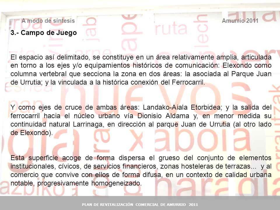 42 Amurrio 2011A modo de síntesis PLAN DE REVITALIZACIÓN COMERCIAL DE AMURRIO 2011 3.- Campo de Juego El espacio así delimitado, se constituye en un á
