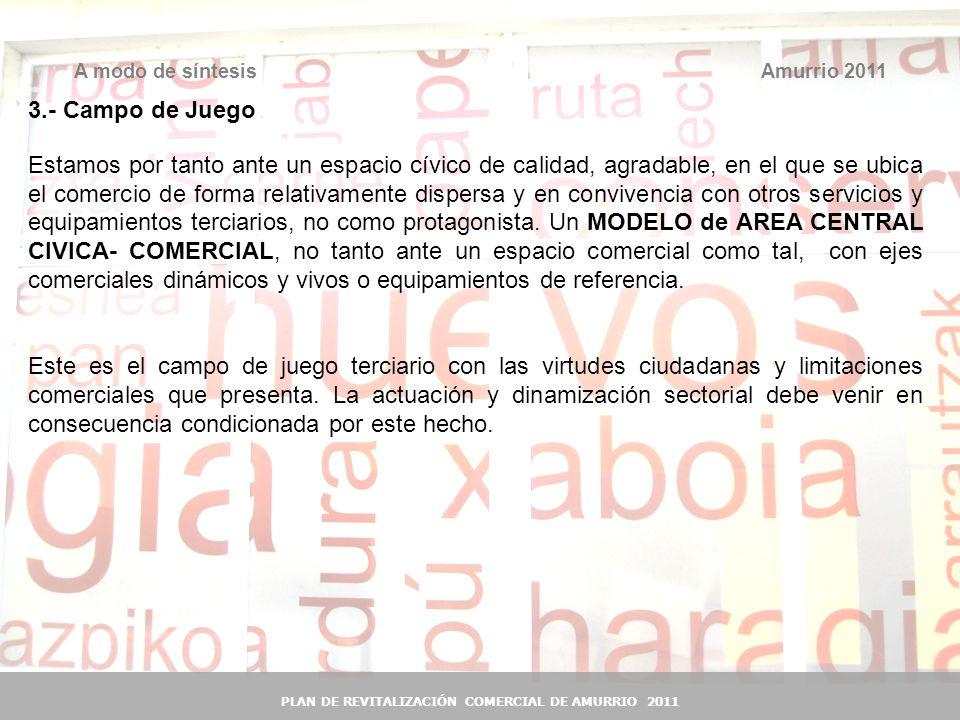 43 Amurrio 2011A modo de síntesis PLAN DE REVITALIZACIÓN COMERCIAL DE AMURRIO 2011 3.- Campo de Juego Estamos por tanto ante un espacio cívico de cali
