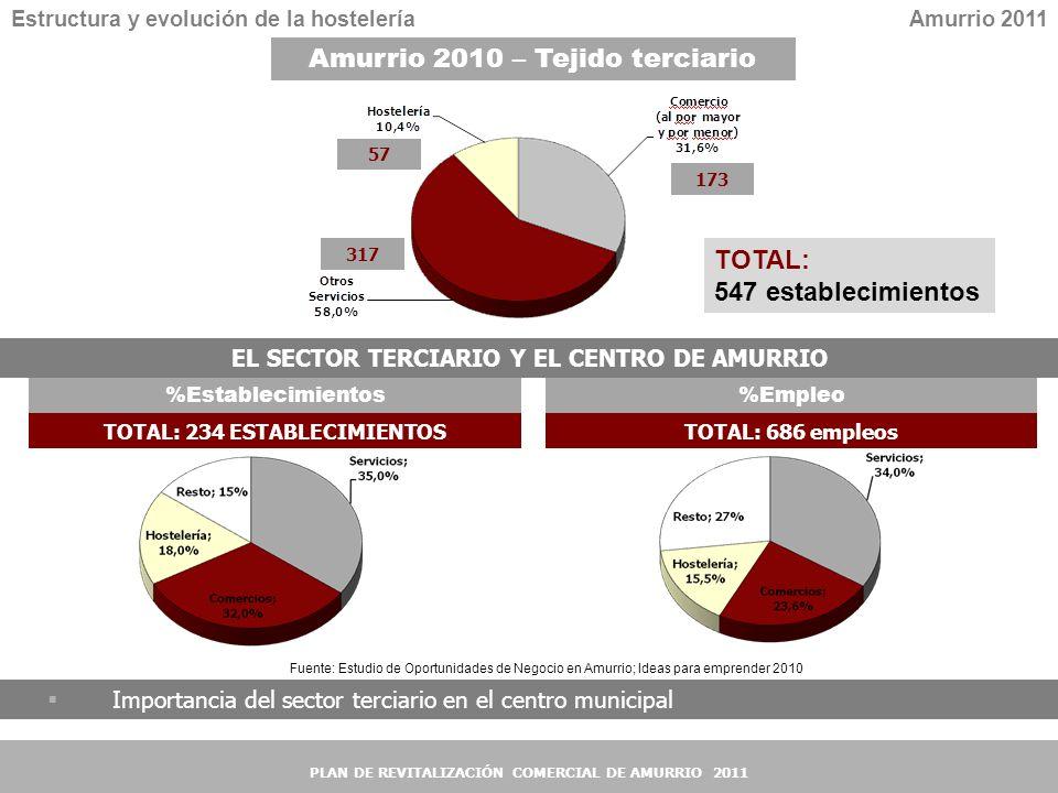 5 5 EL SECTOR TERCIARIO Y EL CENTRO DE AMURRIO Estructura y evolución de la hosteleríaAmurrio 2011 Importancia del sector terciario en el centro munic
