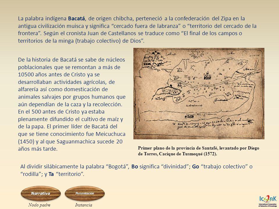 La palabra indígena Bacatá, de origen chibcha, perteneció a la confederación del Zipa en la antigua civilización muisca y significa cercado fuera de l