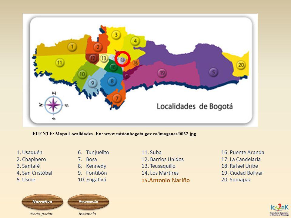 FUENTE: Mapa Localidades. En: www.misionbogota.gov.co/imagenes/0032.jpg 1. Usaquén 2. Chapinero 3. Santafé 4. San Cristóbal 5. Usme 6. Tunjuelito 7. B
