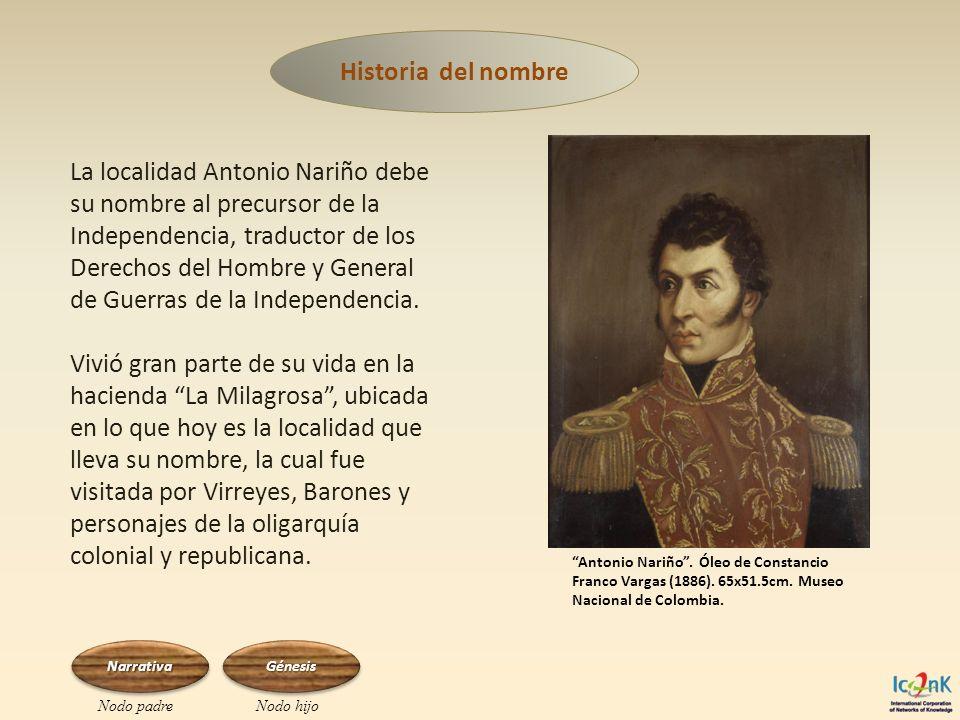 La localidad Antonio Nariño debe su nombre al precursor de la Independencia, traductor de los Derechos del Hombre y General de Guerras de la Independe