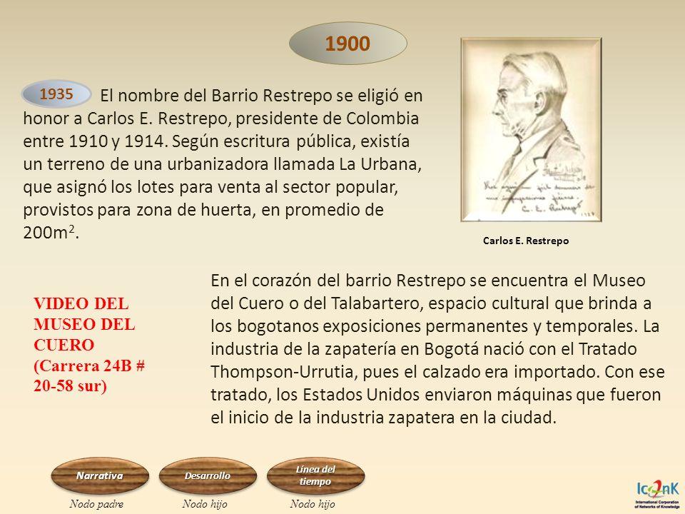 1900 El nombre del Barrio Restrepo se eligió en honor a Carlos E. Restrepo, presidente de Colombia entre 1910 y 1914. Según escritura pública, existía
