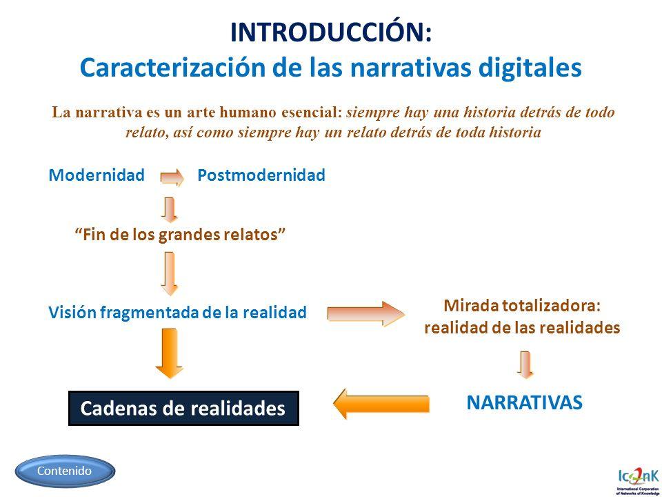 INTRODUCCIÓN: Caracterización de las narrativas digitales Modernidad Postmodernidad Fin de los grandes relatos Visión fragmentada de la realidad NARRA