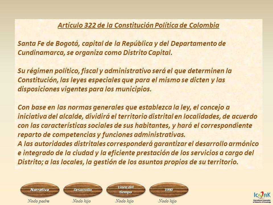 Artículo 322 de la Constitución Política de Colombia Santa Fe de Bogotá, capital de la República y del Departamento de Cundinamarca, se organiza como