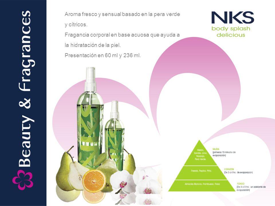 Aroma fresco y sensual basado en la pera verde y cítricos. Fragancia corporal en base acuosa que ayuda a la hidratación de la piel. Presentación en 60