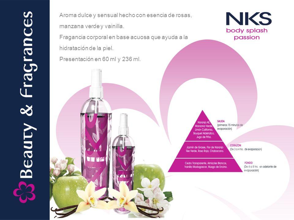 Aroma dulce y sensual hecho con esencia de rosas, manzana verde y vainilla. Fragancia corporal en base acuosa que ayuda a la hidratación de la piel. P