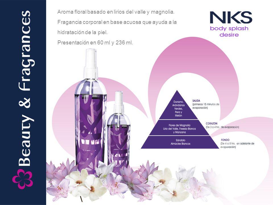 Aroma floral basado en lirios del valle y magnolia. Fragancia corporal en base acuosa que ayuda a la hidratación de la piel. Presentación en 60 ml y 2