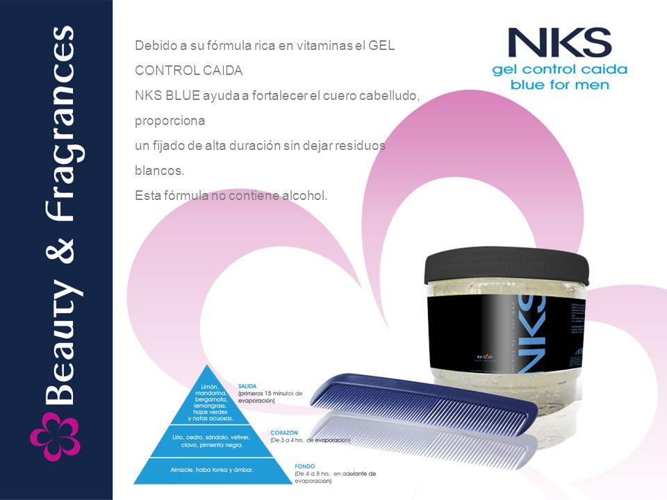 Debido a su fórmula rica en vitaminas el GEL CONTROL CAIDA NKS BLUE ayuda a fortalecer el cuero cabelludo, proporciona un fijado de alta duración sin