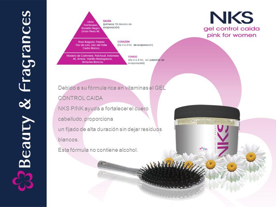 Debido a su fórmula rica en vitaminas el GEL CONTROL CAIDA NKS PINK ayuda a fortalecer el cuero cabelludo, proporciona un fijado de alta duración sin