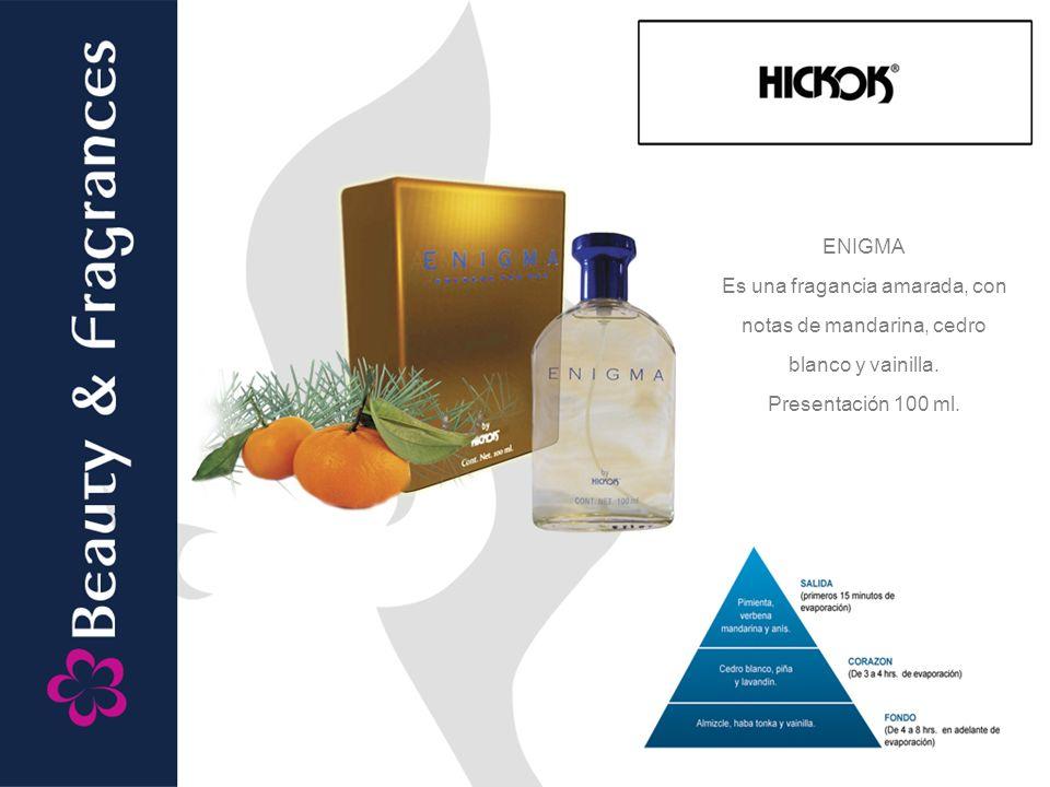 ENIGMA Es una fragancia amarada, con notas de mandarina, cedro blanco y vainilla. Presentación 100 ml.