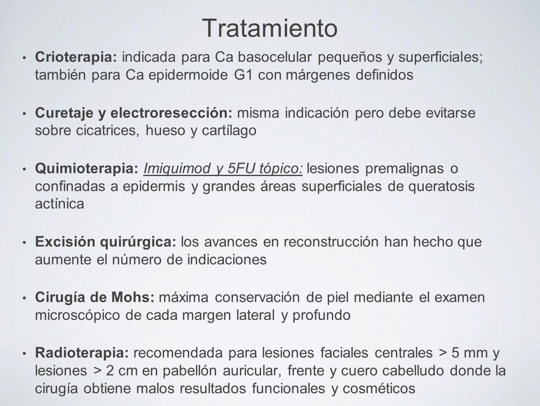 Tratamiento Crioterapia: indicada para Ca basocelular pequeños y superficiales; también para Ca epidermoide G1 con márgenes definidos Curetaje y elect
