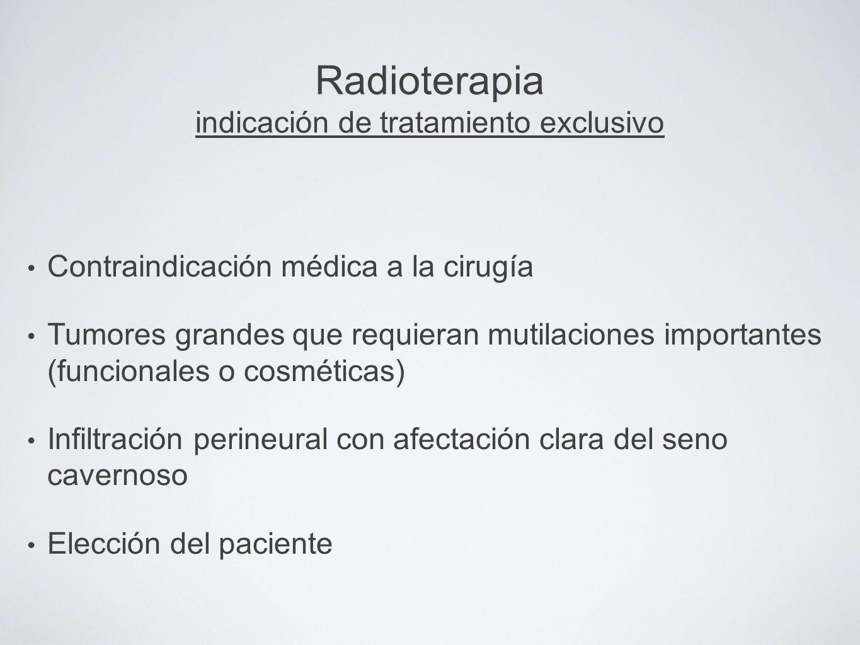 Radioterapia indicación de tratamiento exclusivo Contraindicación médica a la cirugía Tumores grandes que requieran mutilaciones importantes (funciona