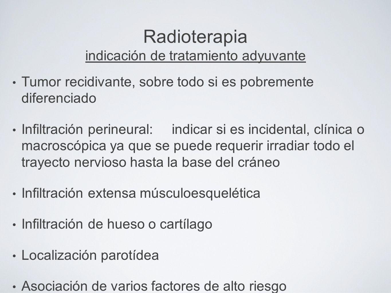 Radioterapia indicación de tratamiento adyuvante Tumor recidivante, sobre todo si es pobremente diferenciado Infiltración perineural: indicar si es in
