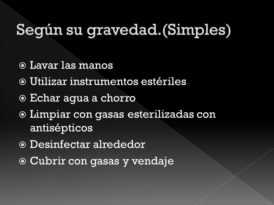 Contusas Punzantes Según su forma Lineales Con perdidas de sustancias Según su gravedad Simples Complicada Graves