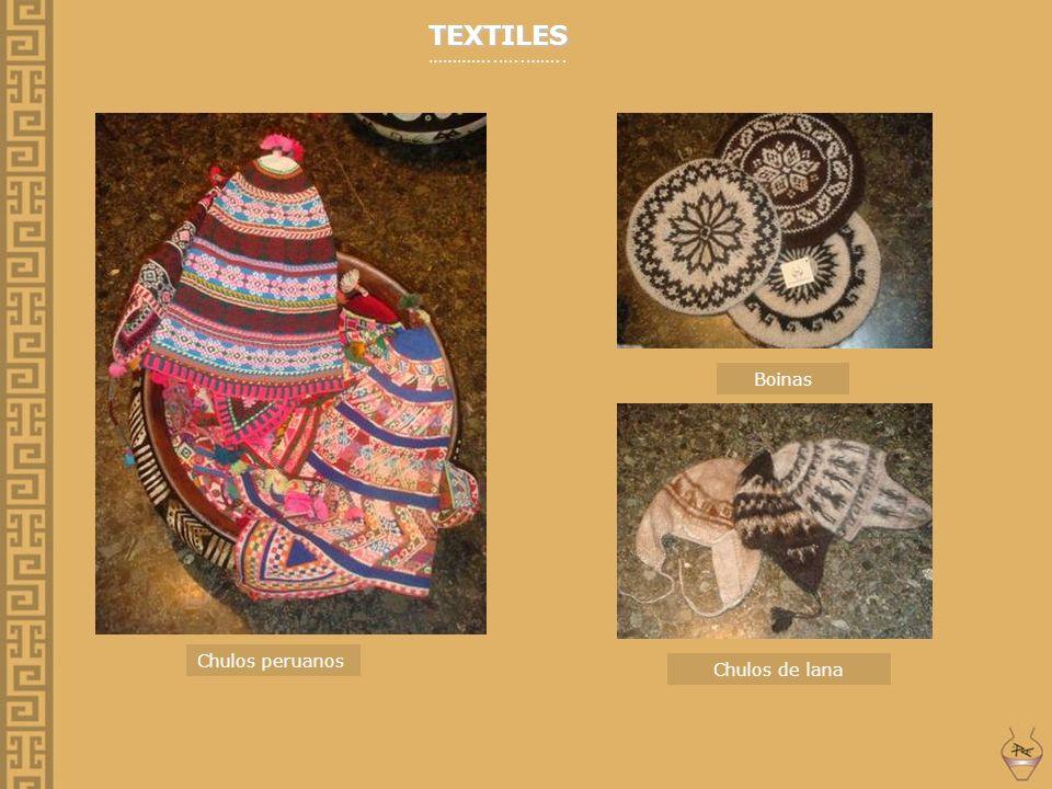 TEXTILES …………..…..…….. Chulos peruanos Boinas Chulos de lana