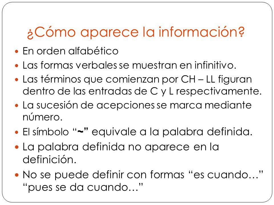 ¿Cómo aparece la información.En orden alfabético Las formas verbales se muestran en infinitivo.