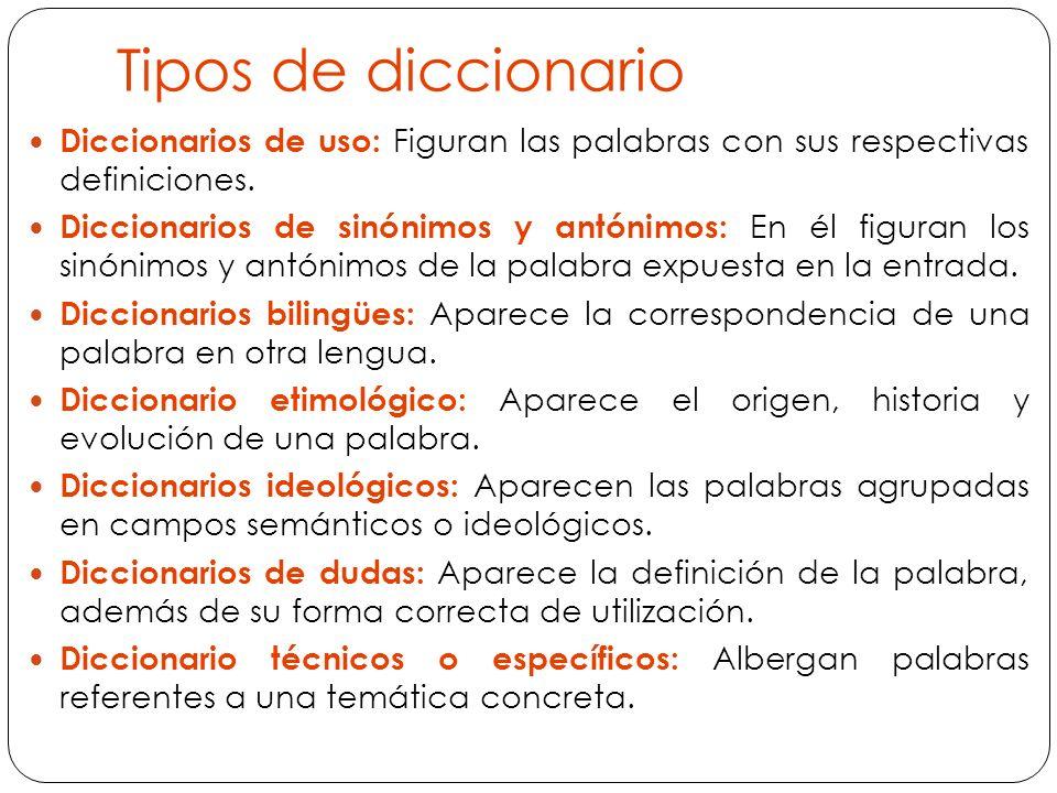 Tipos de diccionario Diccionarios de uso: Figuran las palabras con sus respectivas definiciones.