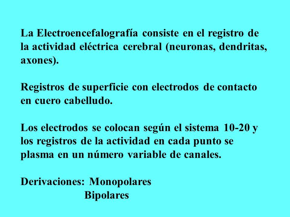 La Electroencefalografía consiste en el registro de la actividad eléctrica cerebral (neuronas, dendritas, axones). Registros de superficie con electro