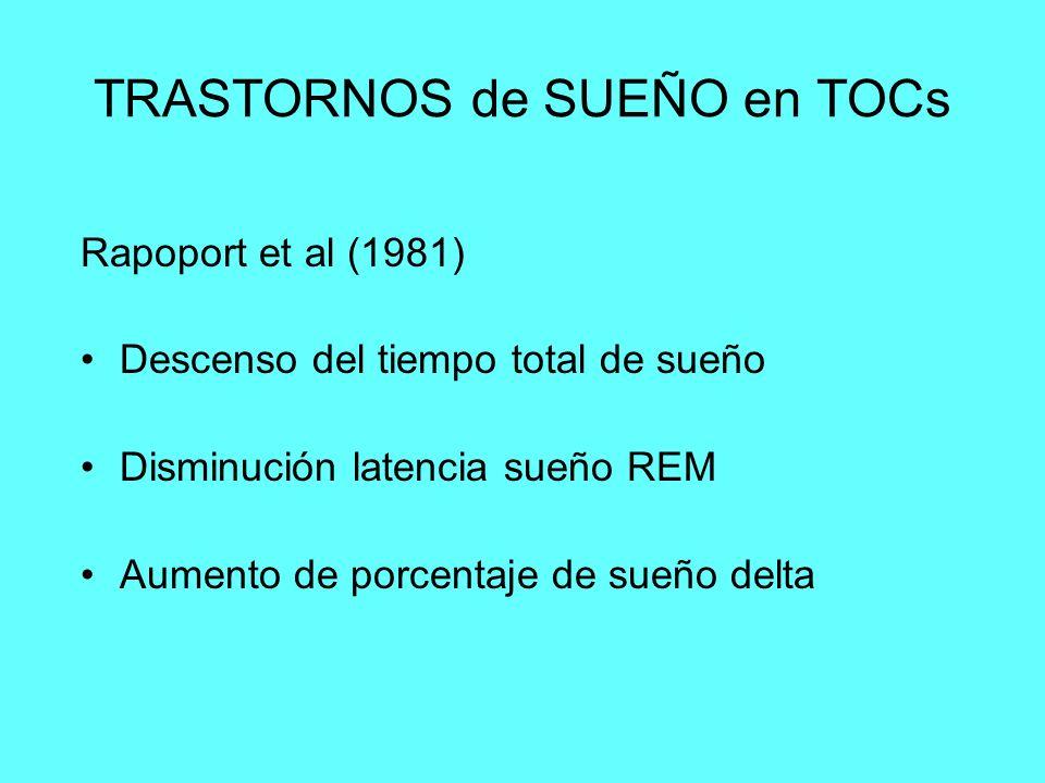 TRASTORNOS de SUEÑO en TOCs Rapoport et al (1981) Descenso del tiempo total de sueño Disminución latencia sueño REM Aumento de porcentaje de sueño del