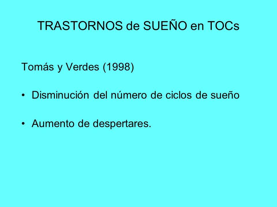 TRASTORNOS de SUEÑO en TOCs Tomás y Verdes (1998) Disminución del número de ciclos de sueño Aumento de despertares.