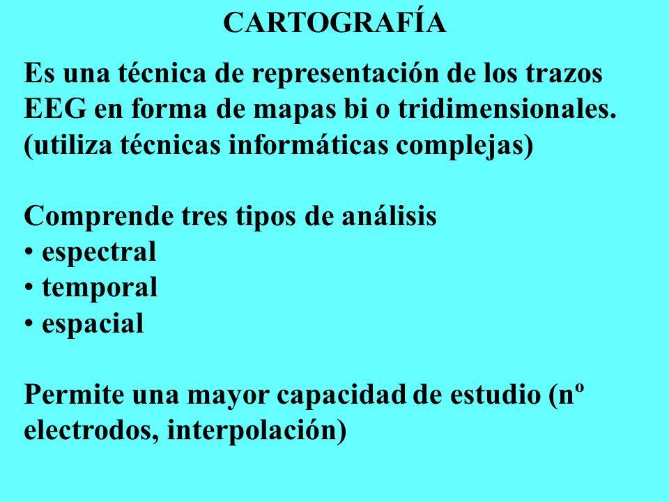CARTOGRAFÍA Es una técnica de representación de los trazos EEG en forma de mapas bi o tridimensionales. (utiliza técnicas informáticas complejas) Comp