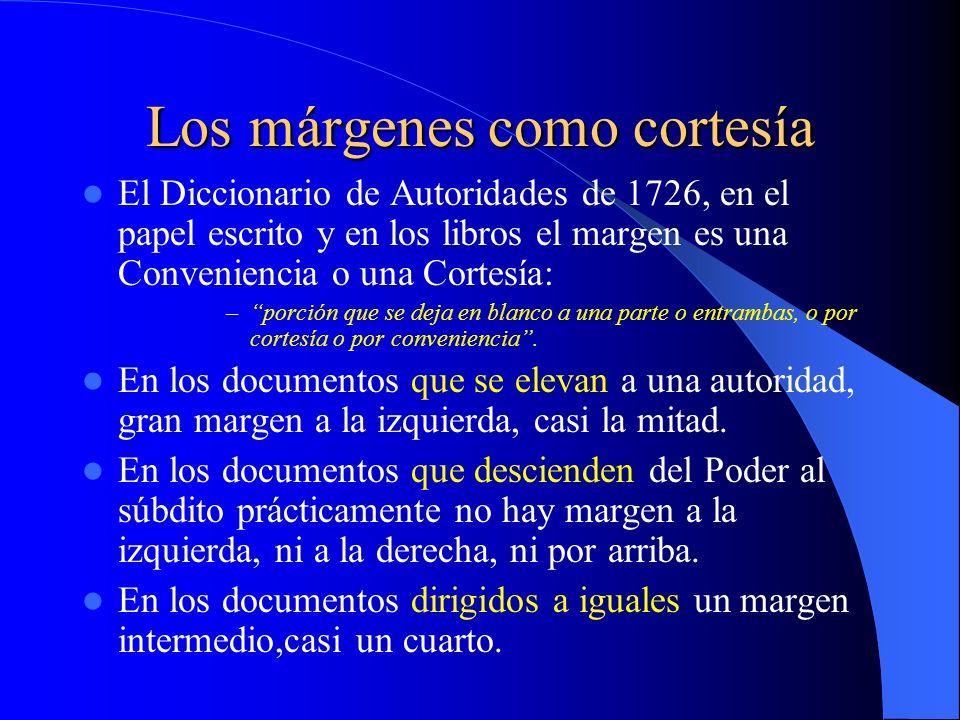 Los márgenes como cortesía El Diccionario de Autoridades de 1726, en el papel escrito y en los libros el margen es una Conveniencia o una Cortesía: –p
